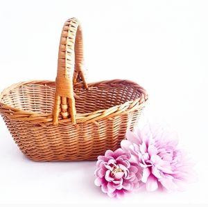 MINI DECORATIVE Brown Rattan Top Handle Basket